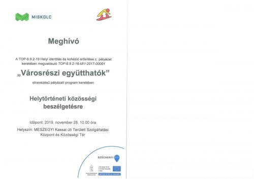 Meghívó - Helytörténeti közösségi beszélgetésre (11.28)