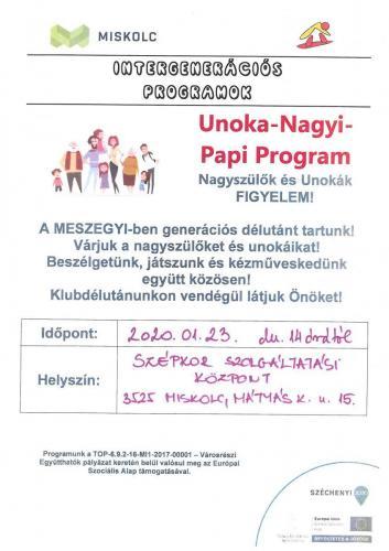 Unoka Nagyi Papi Program -  Disznótoros Délután 1-es célterület