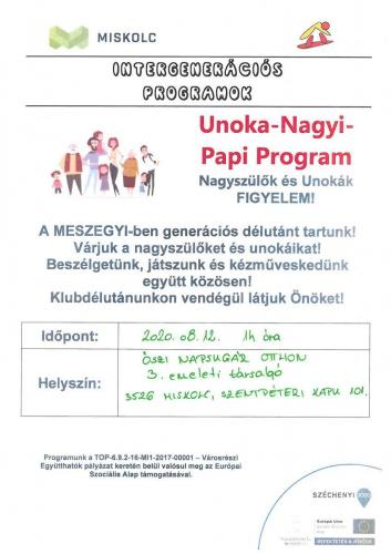 Unoka Nagyi Papi Program - Kézműves foglalkozás 2-es célterület