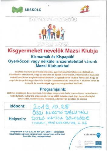 Kisgyermeket nevelők Mazsi Klubja 1-es célterület A