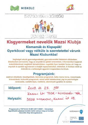Kisgyermeket nevelők Mazsi Klubja 2-es célterület