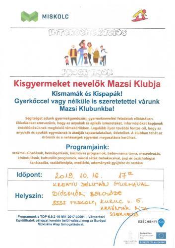 Kisgyermeket nevelők Mazsi Klubja 5-ös célterület
