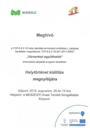Meghívó - Helytörténet Kiállítás megnyitójára (08.26)