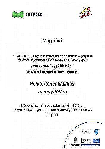 Meghívó - Helytörténet Kiállítás megnyitójára (08.27)