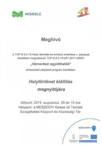 Meghívó - Helytörténet Kiállítás megnyitójára (08.28)