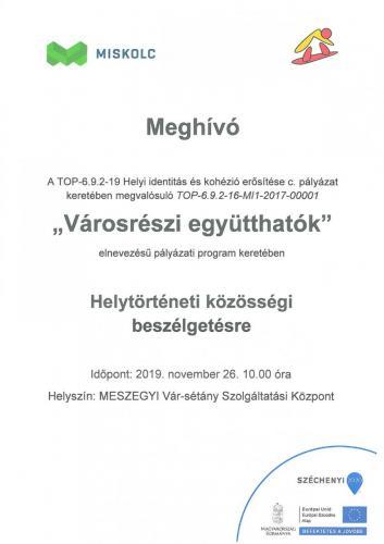 Meghívó - Helytörténeti közösségi beszélgetésre (11.26) Vár-sétány