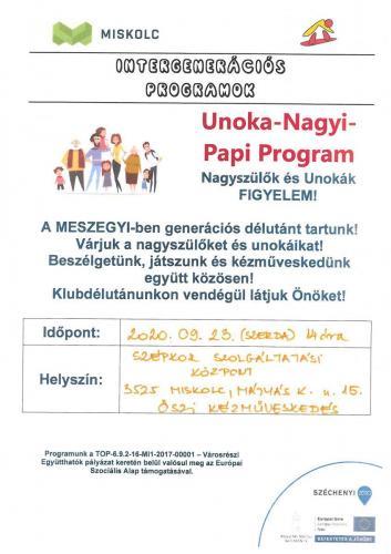 Unoka Nagyi Papi Program -  Kreatív kézműves délután 1-es célterület