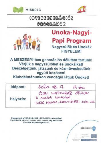 Unoka Nagyi Papi Program - Kézműves foglalkozás 2. 2-es célterület